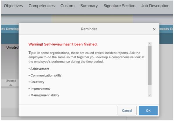 SAP SuccessFactors Q3 2019 update Performance